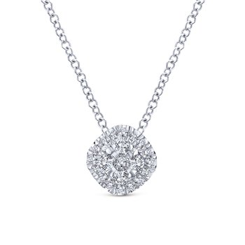 14K White Gold Diamond Pavé Cushion Pendant Necklace