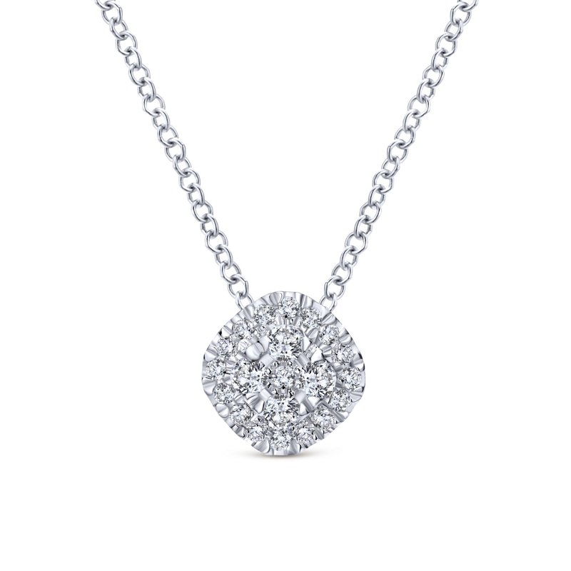 Gabriel Fashion 14K White Gold Diamond Pavé Cushion Pendant Necklace