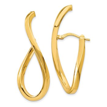 14K Polished Oval Post Earrings