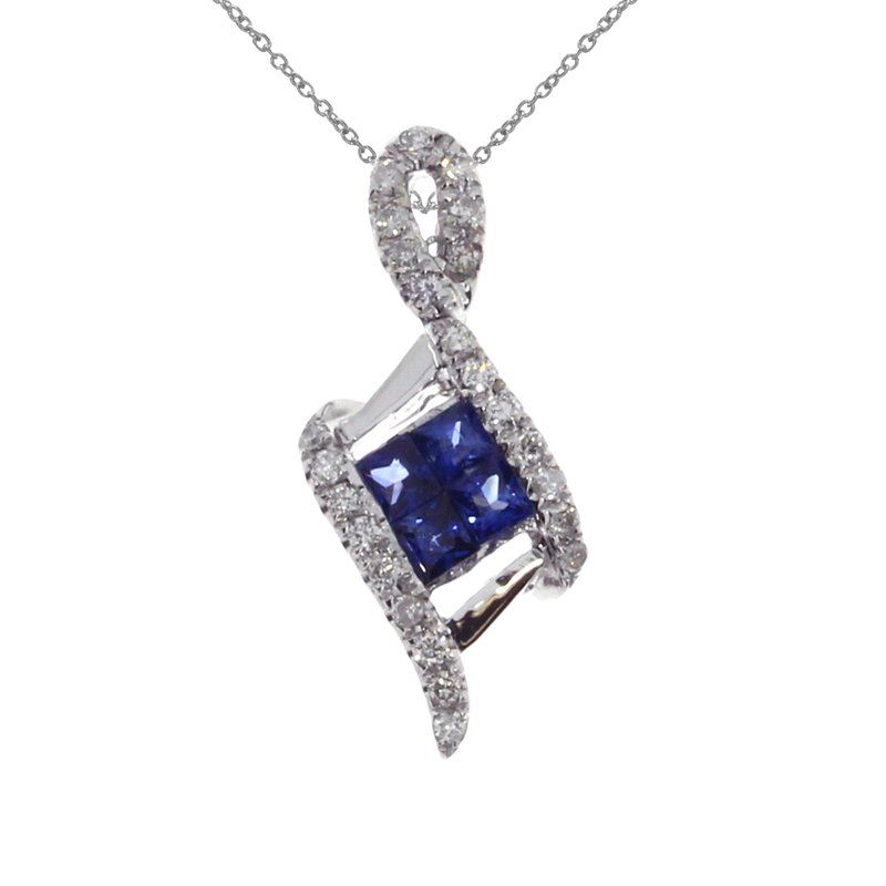 Color Merchants 14K White Gold Sapphire Angled Pendant