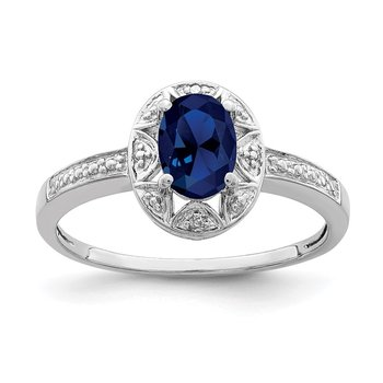 Sterling Silver Rhodium-plated Diam. & Created Sapphire Ring