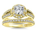 Diamond Engagement Ring Mounting in 14K Yellow Gold with Platinum Head (.34 ct. tw.)