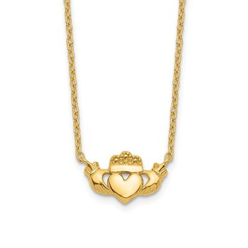 14k Polished Claddagh Necklace