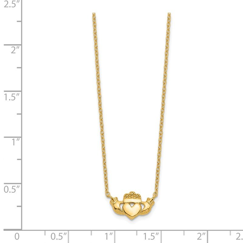 Quality Gold 14k Polished Claddagh 17 inch Necklace