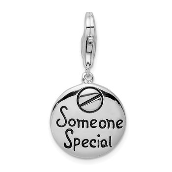Sterling Silver Someone Special Inscribed Round w/Lobster Clasp Charm