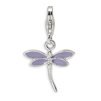 Sterling Silver Lilac Enameled & CZ Dragonfly w/Lobster Clasp Charm