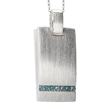 ELAN SILVER CHANN SET BLUE TPZPENDANT, SATIN FINISH