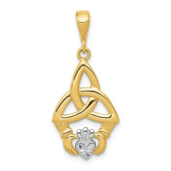 14K Rhodium Diamond-cut Claddagh Pendant