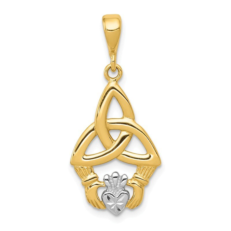 Quality Gold 14K Rhodium Diamond-cut Claddagh Pendant
