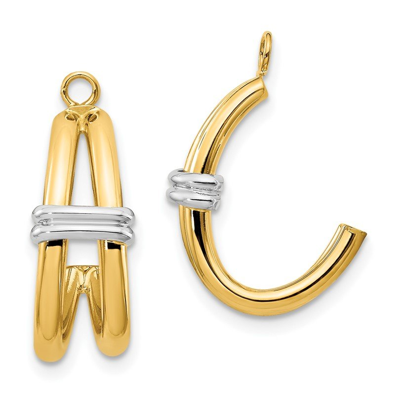 Quality Gold 14k Two-tone Polished Double J-Hoop Earring Jackets