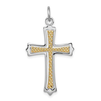 Sterling Silver Rhodium-plated & Gold-plated Cross Pendant