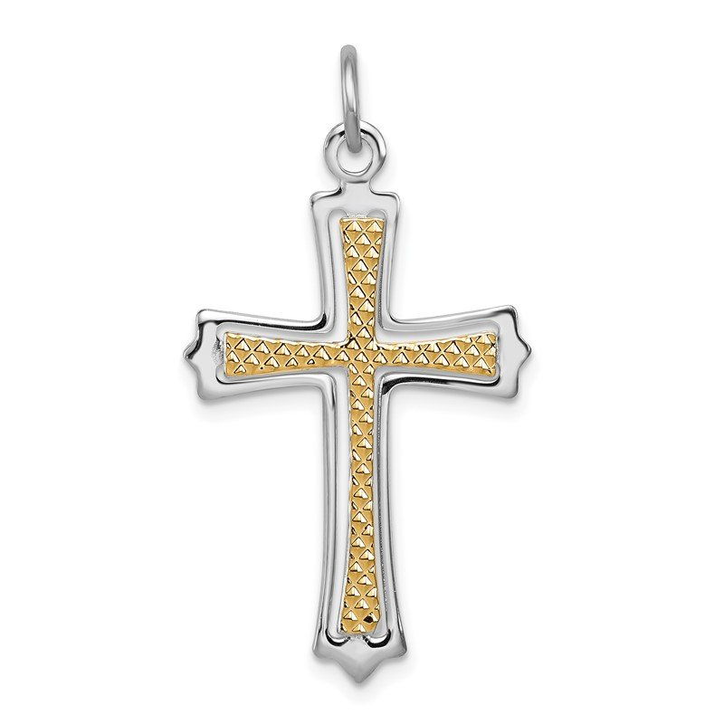 Quality Gold Sterling Silver Rhodium-plated & Gold-plated Cross Pendant