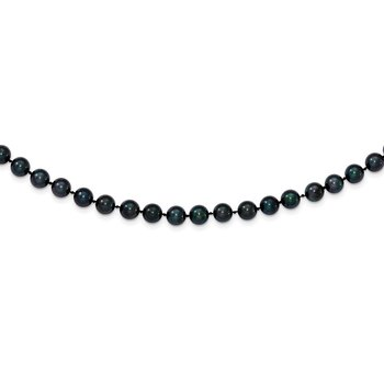 14k White Gold 6-7mm Round Black Saltwater Akoya Cultured Pearl Necklace