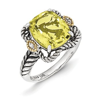 Sterling Silver w/14k Antiqued Lemon Quartz and Diamond Ring