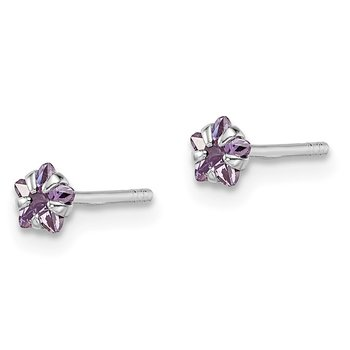 Sterling Silver Madi K RH Plated Purple Star CZ Post Earrings