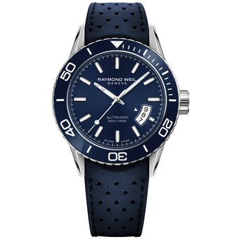 Men's Automatic Diver Watch, 42mm Steel on rubber strap, blue dial