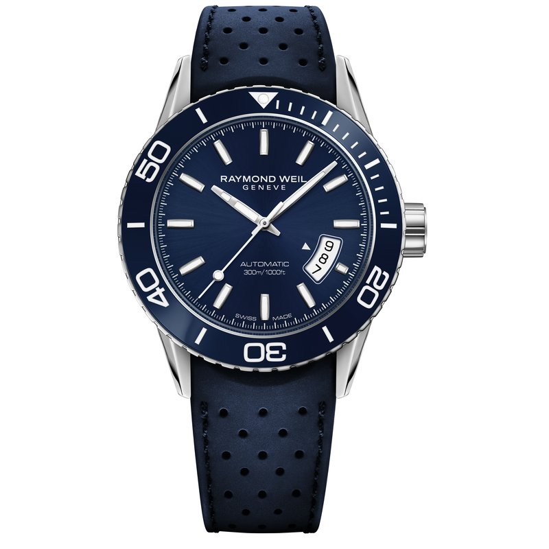 Raymond Weil Men's Automatic Diver Watch, 42mm Steel on rubber strap, blue dial