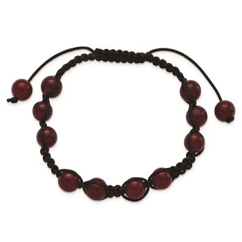 8mm Red Aventurine Beads and Black Cord Bracelet