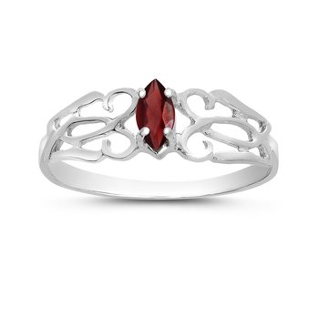 10k White Gold Marquise Garnet Filagree Ring