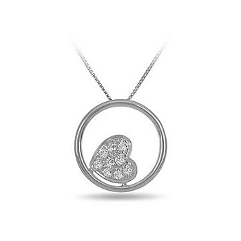 14K WG Cluster Diamond Heart in a Circle Pendant