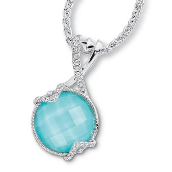 Sterling silver, turquoise fusion and diamond pendant