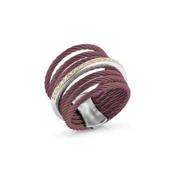 Burgundy 7 Row Cable Ring with 18kt Yellow Gold & Diamonds
