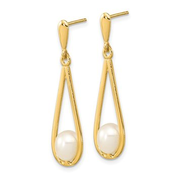 14k 5-6mm White Rice Freshwater Cultured Pearl Dangle Post Earrings
