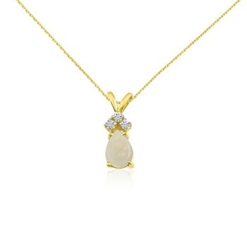 14k Yellow Gold 7X5 Opal Pear Pendant with Diamonds