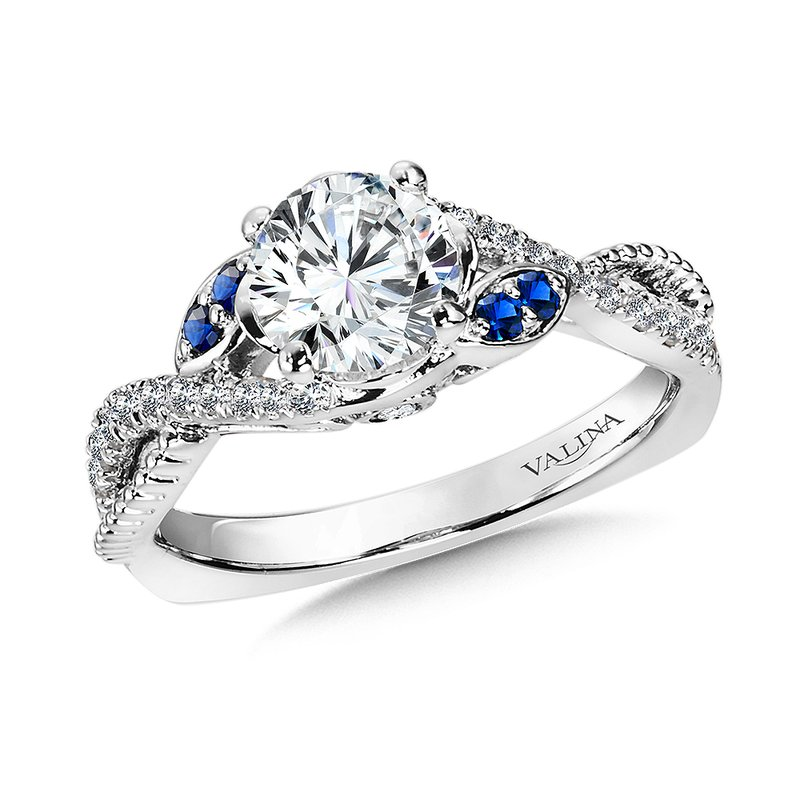 Valina Diamond and Blue Sapphire Engagement Ring Mounting in 14K White/Rose Gold (.25 ct. tw.)