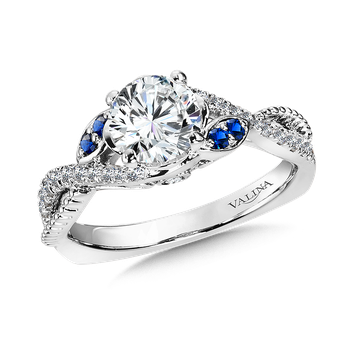Diamond and Blue Sapphire Engagement Ring Mounting in 14K White/Rose Gold (.25 ct. tw.)