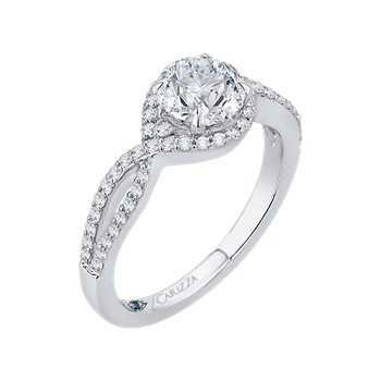 Round Diamond Engagement Ring In 18K White Gold with Split Shank (Semi-Mount)
