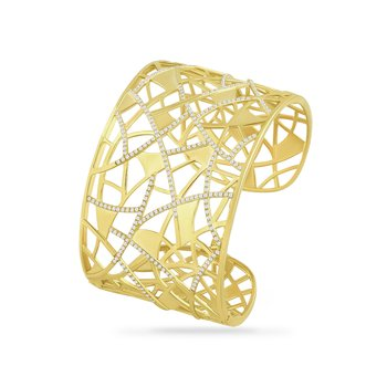14K wide geometric shape cuff with 280 diamonds 1.40ct