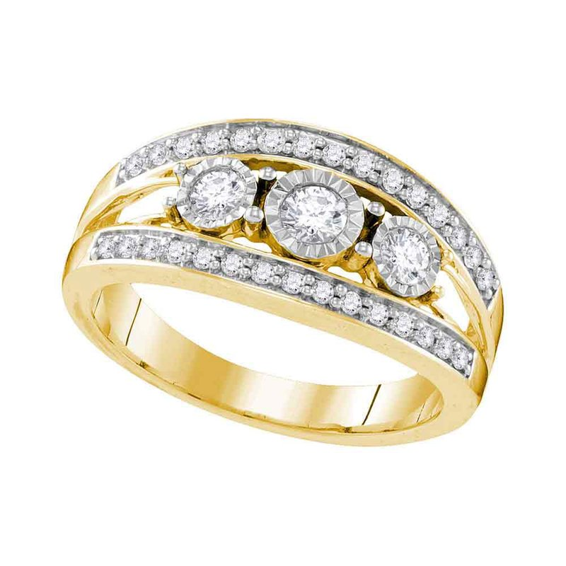Gold-N-Diamonds 10kt Yellow Gold Womens Round Diamond 3-stone Bridal Wedding Engagement Ring 1/2 Cttw