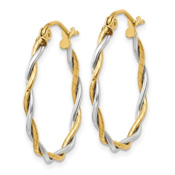 14k Two-tone Polished 1.8mm Twisted Hoop Earrings