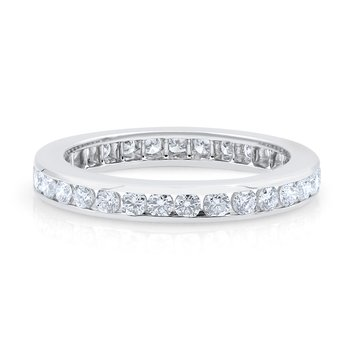 Platinum Channel Set Round Diamond Band