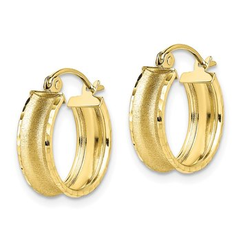 10K Satin Diamond Cut Hoop Earrings