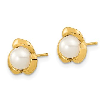 14k 5-6mm White Button Freshwater Cultured Pearl Post Earrings