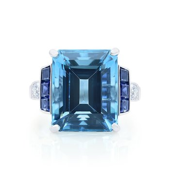 Platinum 9.79ct Aquamarine Ring