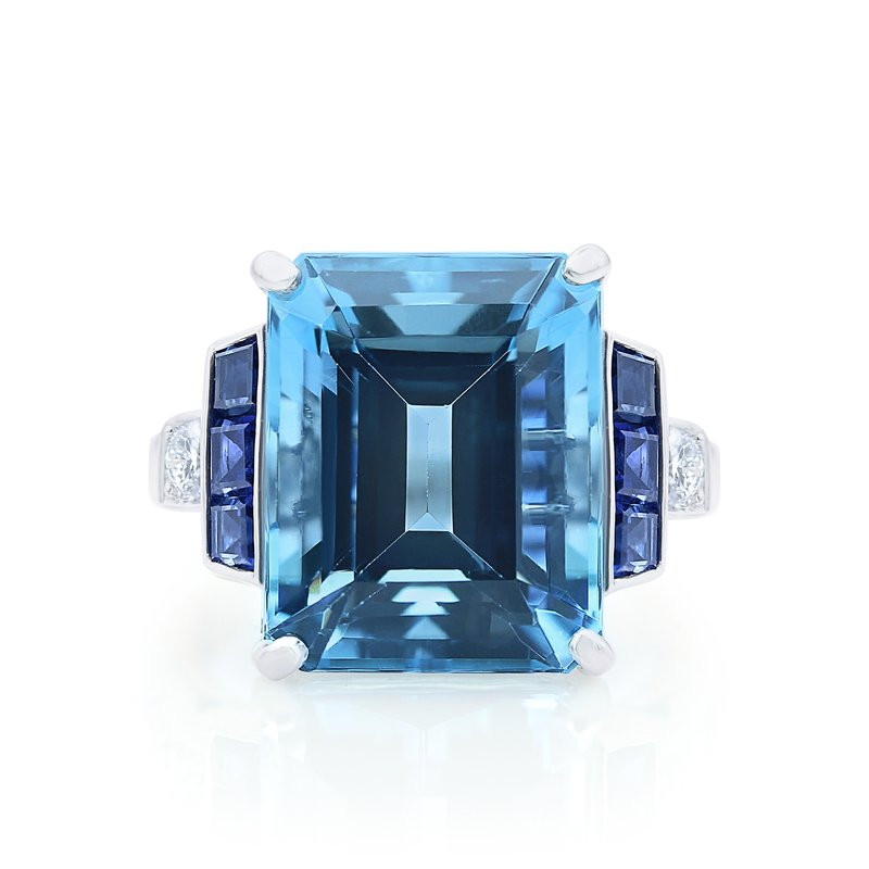 Oscar Heyman Platinum 9.79ct Aquamarine Ring