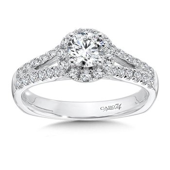 Halo Engagement Ring with Split Shank in 14K White Gold (1/2ct. tw.)