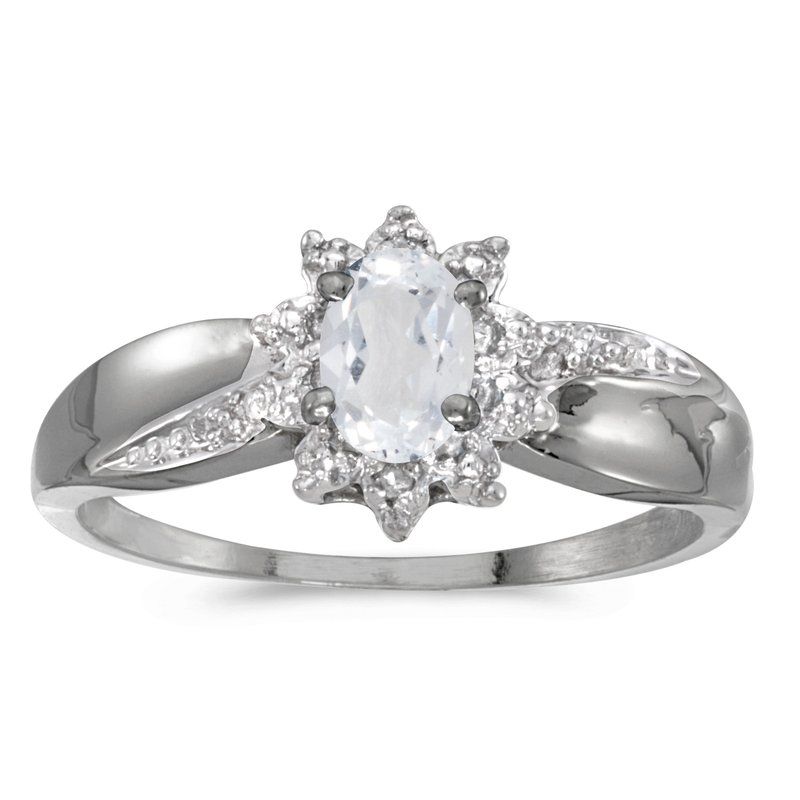 Color Merchants 14k White Gold Oval White Topaz And Diamond Ring
