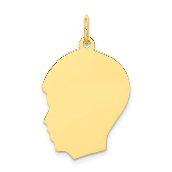 10K Plain Medium .018 Gauge Facing Left Engravable Boy Head Charm
