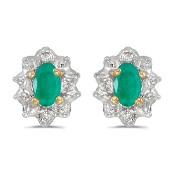 10k Yellow Gold Oval Emerald And Diamond Earrings