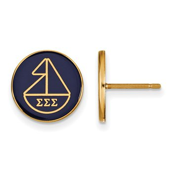 Gold-Plated Sterling Silver Sigma Sigma Sigma Greek Life Earrings