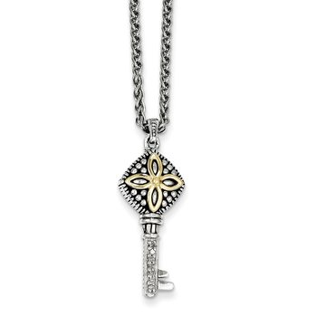 Sterling Silver w/14k Diamond Key Necklace