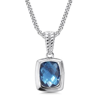 Sterling Silver London Blue Topaz Essentials Pendant