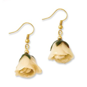 Lacquer Dipped White Rose Dangle Earrings
