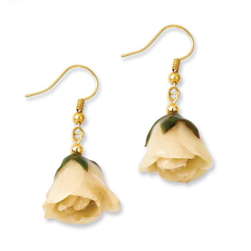 Fine Jewelry by JBD Lacquer Dipped White Rose Gold-tone Dangle Earrings