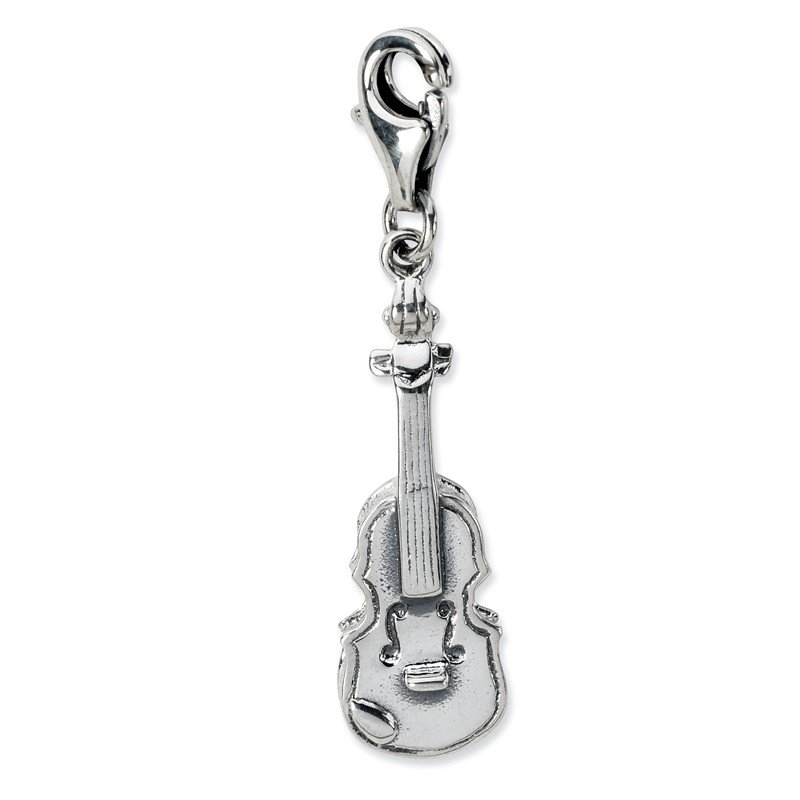 Quality Gold Sterling Silver 3-D Antiqued Violin w/Lobster Clasp Charm