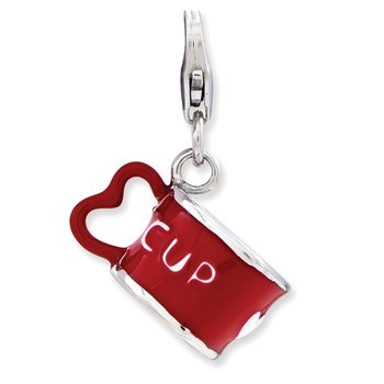 Sterling Silver RH Enameled 3-D Heart Cup w/Lobster Clasp Charm